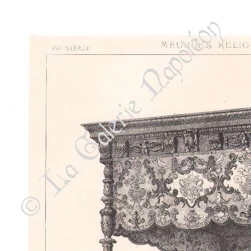 alte stiche alti m bel franz sisch kunst bett baldachin lithografie 1874. Black Bedroom Furniture Sets. Home Design Ideas