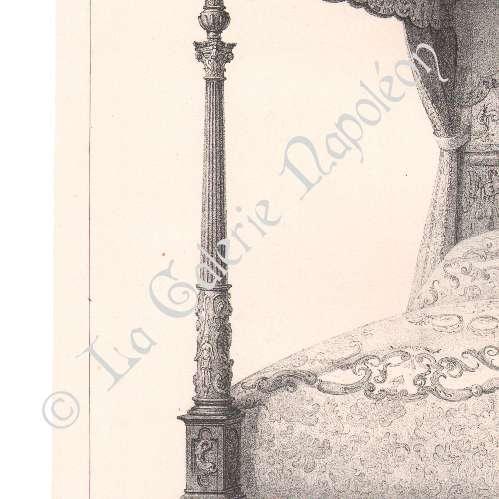 alte stiche lithographie von alti m bel franz sisch kunst bett baldachin. Black Bedroom Furniture Sets. Home Design Ideas
