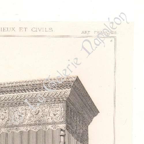 alte stiche alti m bel franz sisch kunst bett baldachin kolonnaden lithografie 1874. Black Bedroom Furniture Sets. Home Design Ideas