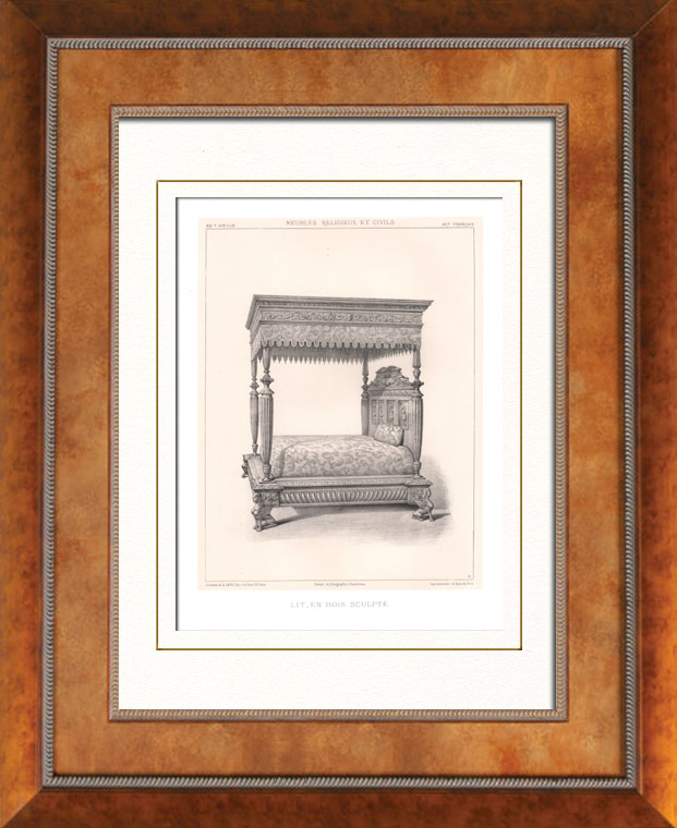 himmelssäng barn ~ antika tryck  antika möbler  fransk konst  säng