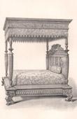 Alti M�bel - Franz�sisch kunst - Bett - Baldachin - Kolonnaden - Skulptiertes Holz