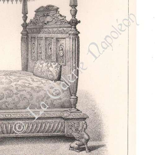 alte stiche lithographie von alti m bel franz sisch kunst bett baldachin kolonnaden. Black Bedroom Furniture Sets. Home Design Ideas