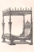 Lithographie von Alti Möbel - Französisch kunst - Bett - Baldachin - Kolonnaden - Verzierung - Jacques I Androuet du Cerceau