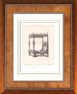 Alti Möbel - Französisch kunst - Bett - Baldachin - Kolonnaden - Verzierung - Jacques I Androuet du Cerceau