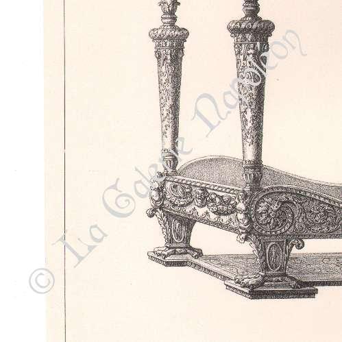 alte stiche alti m bel franz sisch kunst bett baldachin kolonnaden verzierung. Black Bedroom Furniture Sets. Home Design Ideas