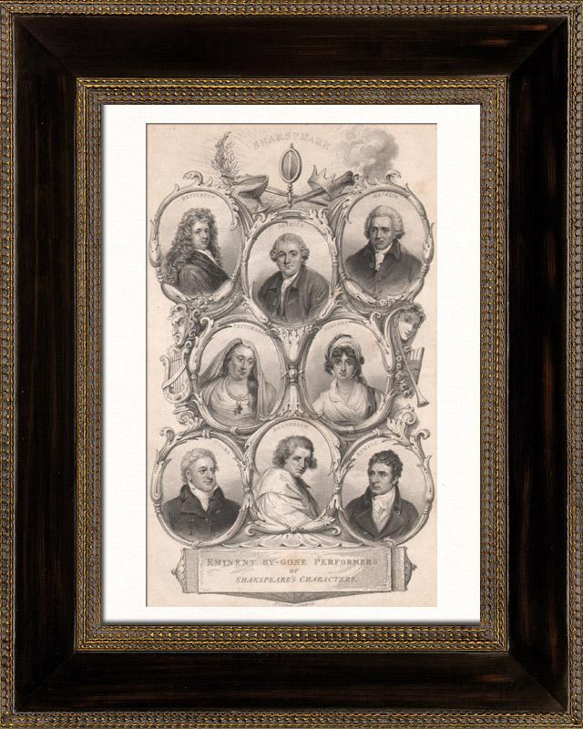 Gravures Anciennes & Dessins | Shakespeare - William Shakespeare - Acteurs - personnages des pièces de Shakespeare | Taille-douce | 1828