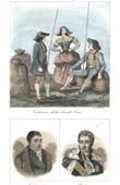 Stich von Französische Regionale Trachten - Traditionen und Folklore - Haute-Loire - Porträts - Marquis de La Fayette (1757-1834) - Jules de Polignac (1780-1847)