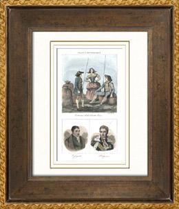 Franz�sische Regionale Trachten - Traditionen und Folklore - Haute-Loire - Portr�ts - Marquis de La Fayette (1757-1834) - Jules de Polignac (1780-1847)