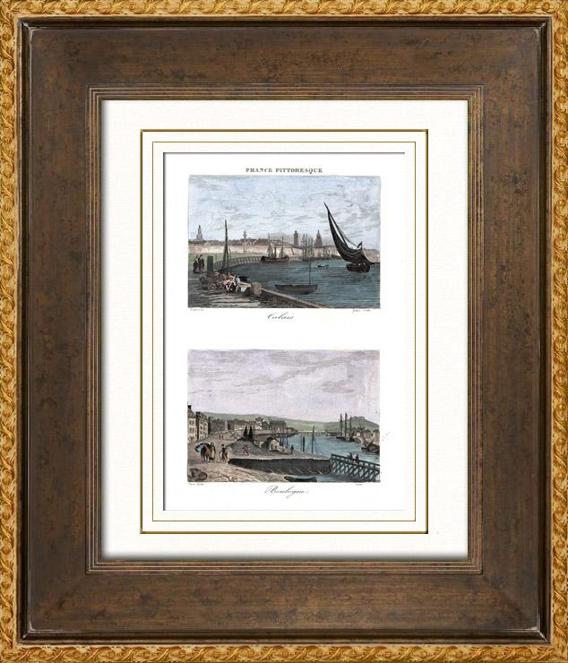 Gravures anciennes vue de calais vue de boulogne sur mer pas de calais france gravure - Garde meuble boulogne sur mer ...