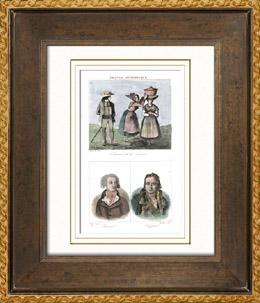 Französische Regionale Trachten - Traditionen und Folklore - Lozère - Porträts - Rivarol (1753-1801) - Chaptal (1756-1832)