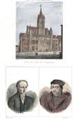 Stich von Rathaus von Compiègne (Frankreich) - Porträts - Valentin Haüy (1745-1822) - Johannes Calvin (1509-1564)