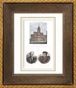 Rathaus von Compiègne (Frankreich) - Porträts - Valentin Haüy (1745-1822) - Johannes Calvin (1509-1564)