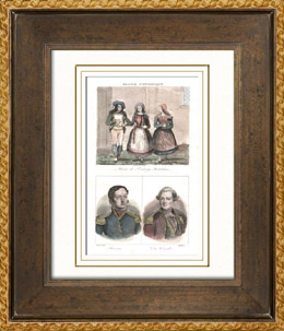 Franz�sische Kost�me - Dorfhochzeit (Morbihan - Frankreich) - Portr�ts - Hippolyte Magloire Bisson (1796-1827) - Charles Louis du Cou�dic (1740-1780)