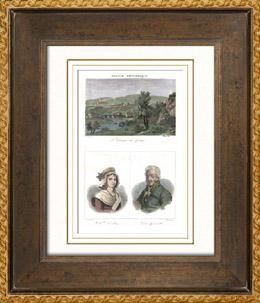 Ansicht von Saint-Céneri-le-Gérei (Orne - Frankreich) - Porträts - Charlotte Corday (1768-1793) - Desgenettes (1762-1837)
