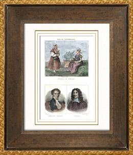 Franz�sische Regionale Trachten - Traditionen und Folklore (Chartres - Eure-et-Loir) - Portr�ts - Chauveau-Lagarde (1765-1841) - Rotrou (1609-1650)