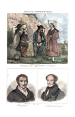 French Regional Costumes - Traditions and Folklore - Ille-et-Vilaine - Portraits - François Broussais (1772-1838) - Chateaubriand (1768-1848)