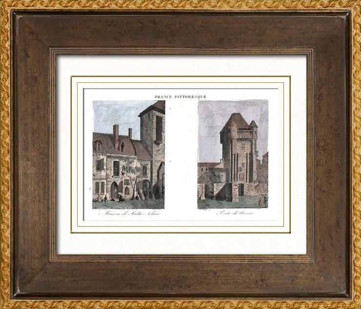 Gravures Anciennes & Dessins   Vue de Nevers - Maison de Maître Adam - Adam Billaut - Porte de ville (Nièvre - France)   Taille-douce   1835