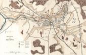 Stich von Karte - Schlachtfeld bei Borodino (1812) - Russland - Napoleon I. - Feldzug in Russland - Koalitionskriege