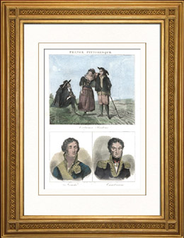 Französische Regionale Trachten - Bretagne - Porträts - Fouché (1759-1820) - Cambronne (1770-1842)