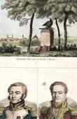 Stich von Napoleonische Kriege - Denkmal - Dresden - Tod von Moreau - Porträts - Louis Lepic (1765-1827) - Pierre Margaron (1765-1824)