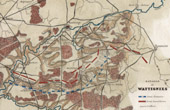 Antique map - French Revolutionary Wars - Battle of Wattignies (1793) - Austria