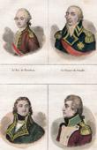 Portraits - Louis-Jean-Marie de Bourbon (1725-1793) - Prince of Condé (1756-1830) - Beurnonville (1752-1821) - Rouget de Lisle (1760-1836)