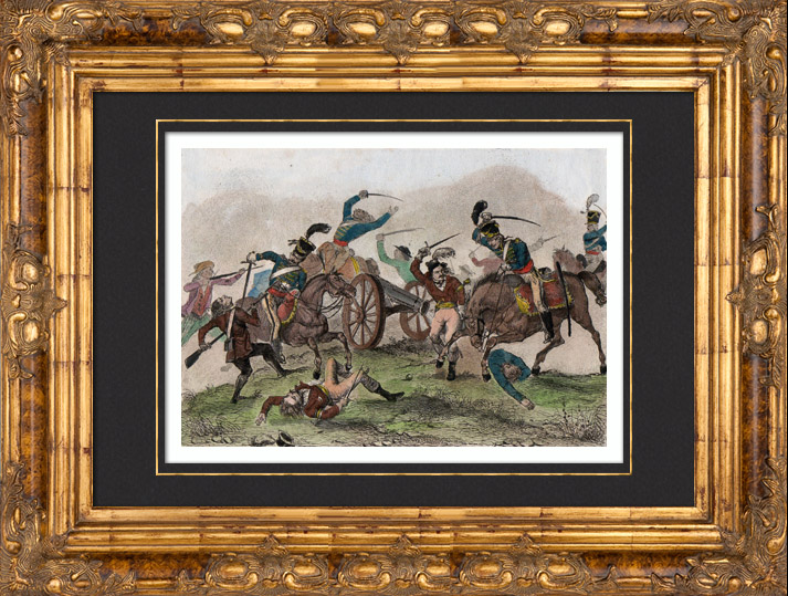 Intaglio print | 1835 | French Revolutionary Wars - War in the Vendée -  Army - Cavalry - Artillery