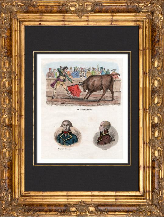 Gravures Anciennes & Dessins | Tauromachie - Torero - Matador - Portraits - De Prez de Crassier  (1733-1803) - Joseph Servan (1741-1808) | Taille-douce | 1835