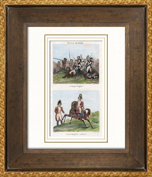 Antique Prints & Drawings   Death of Dougados (1793) - Spanish Army - Carabinier   Intaglio print   1835