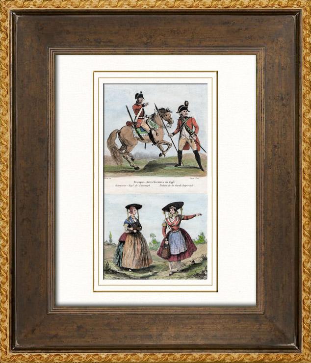 Gravures Anciennes & Dessins | Armée Autrichienne - Uniforme Militaire - 1793 - Costumes de femmes - Hollande - Pays-Bas - Gueldre - Frise | Taille-douce | 1835