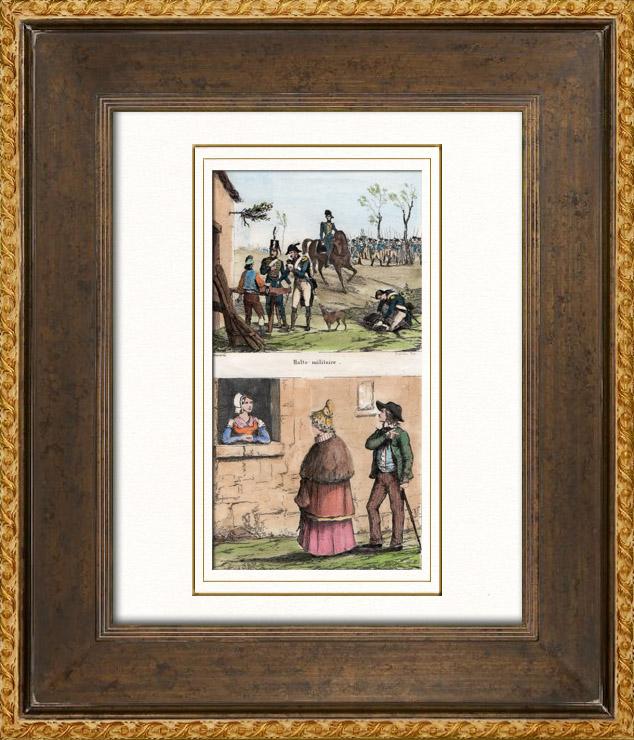 Gravures Anciennes & Dessins | Une Halte - Repos des soldats - Costumes de femmes - Sables d'Olonne - Vendée (France) | Taille-douce | 1835