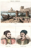 View of Methoni - Peloponnese - (Greece) - Portraits - Ibrahim Pasha (1789-1848) - Constantin Kanaris (1793-1877)