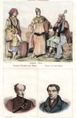 Stich von Kostüm von Griechenland - Arkadien - Theben - Porträts - Alexandre Ypsilántis (1792–1828) - Ioánnis Kapodístrias (1776-1831)