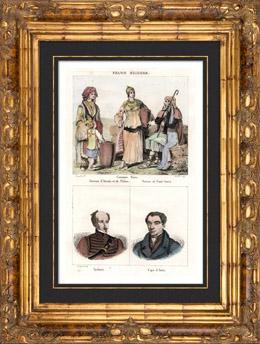 Kostüm von Griechenland - Arkadien - Theben - Porträts - Alexandre Ypsilántis (1792–1828) - Ioánnis Kapodístrias (1776-1831)
