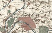 Antique map - Defense of Paris - 1814