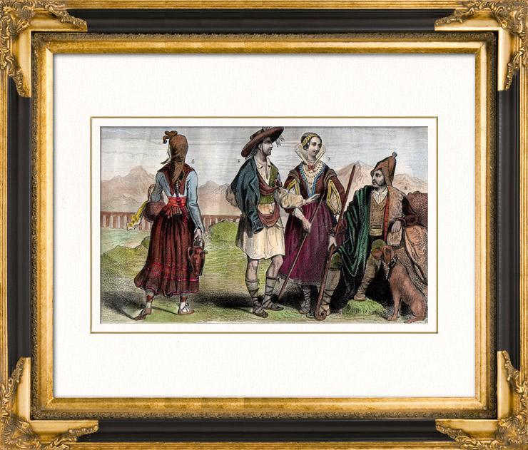 Gravures Anciennes & Dessins   Costume Traditionnel - Espagne - Jardinier - Berger - Jeunes Villageoises   Taille-douce   1859