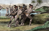 American Indians - Florida - Indians Killing a Crocodile (United States of America)