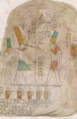 Stich von Altes Ägypten - Stele - Nubien - Hieroglyphen