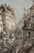 Julirevolutionen - Barrikad i Rue Saint Antoine - Paris (1830)