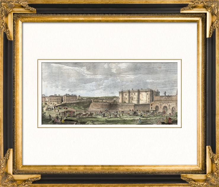 Gravures anciennes vue de paris rive droite faubourg for Miroir st antoine