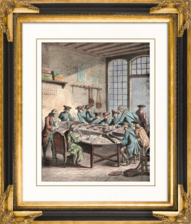 gravures anciennes gravure de monuments de paris grand bureau de poste paris sous louis xvi. Black Bedroom Furniture Sets. Home Design Ideas