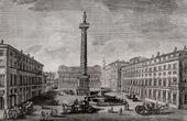 View of Rome - Piazza Colonna - Column of Marcus Aurelius (Italy)