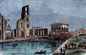 Basin of the Canal Saint-Martin in La Villette - Fire - Paris (1871)