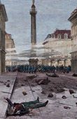 Paris Commune - View of the Place Vendome in Paris after the shooting of 23 March 1871