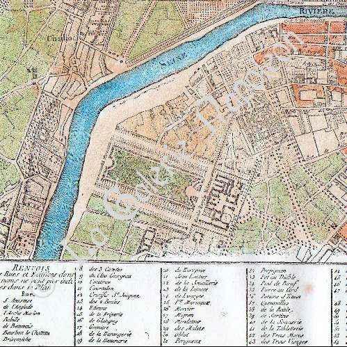 Gravures anciennes gravure de ancien plan de la ville de for Piscine 18eme paris