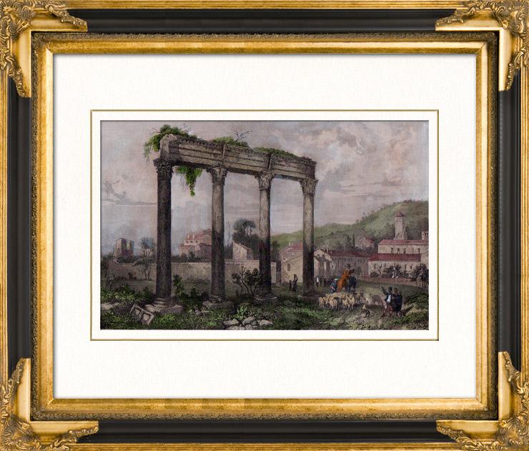 Gravures Anciennes & Dessins   Temple Antique à Riez - Péristyle - Provence-Alpes-Côte d'Azur (France)   Taille-douce   1840