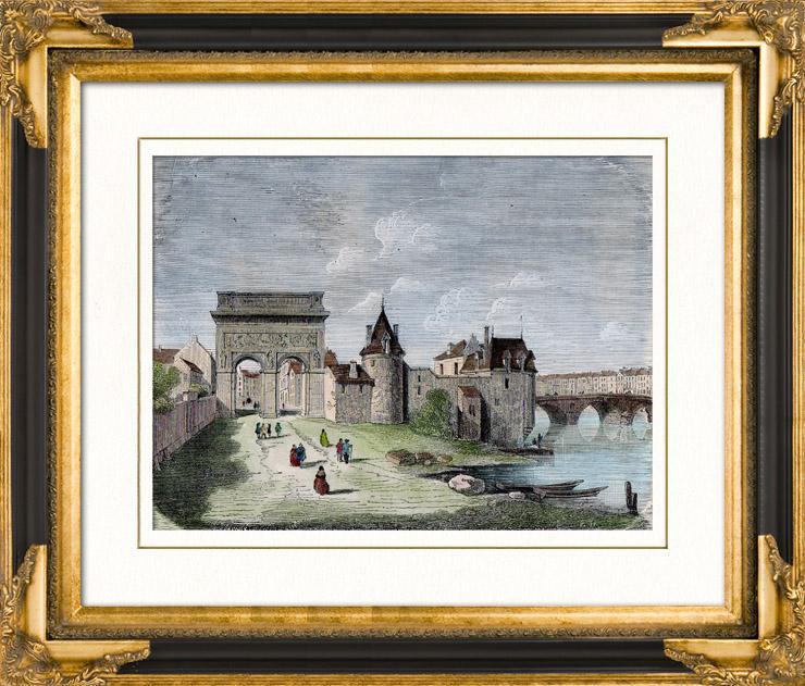 Gravures Anciennes & Dessins | Ancienne Porte de ville - Porte Saint Bernard - Paris - Sous le Règne de Louis XIII de France | Gravure sur bois | 1880
