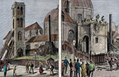 History and Monuments of Paris - Tour Saint-Roch - Tower - Before and after its demolition - 1735