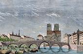 Stich von Geschichte und Denkmäler von Paris - Alte Pont de la Tournelle