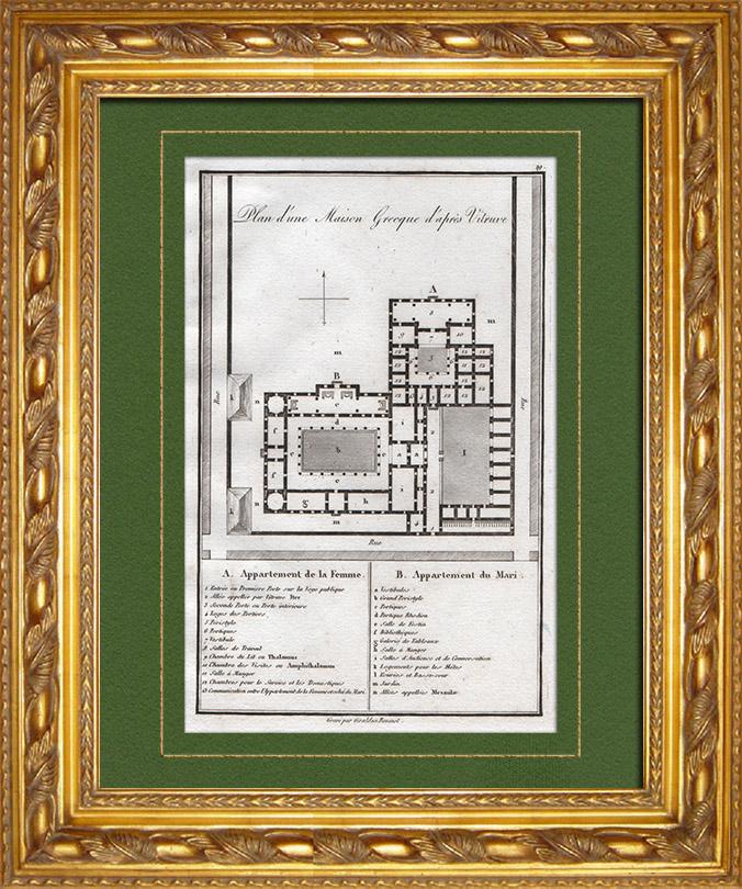 Stampe antiche stampa di casa greca grecia antica for Piccole case di rinascita greca